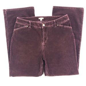 J. Jill Purple Stretch Straight Leg Corduroy Pants
